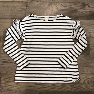 Crewcuts Girls blue & white stripe long sleeve top